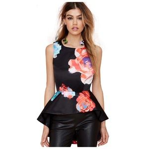 Tops - Dramatic Floral High Low Peplum Top D8