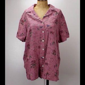 Fashion Bug Tops - vintage embroidered camp shirt floral print tunic