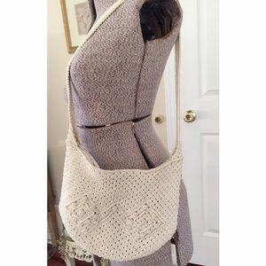 White macrame purse