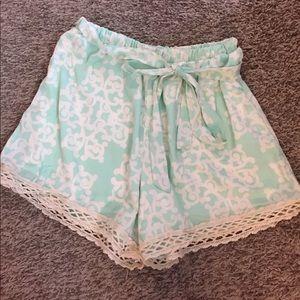 Mint and cream trellis shorts.