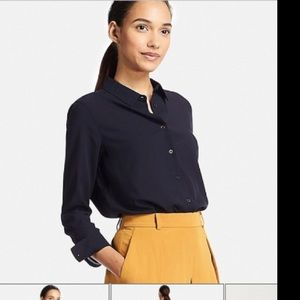Uniqlo Navy Rayon Button down Blouse