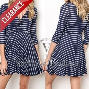 CLEARANCE NAVY / GREY STRIPED WRAP DRESS