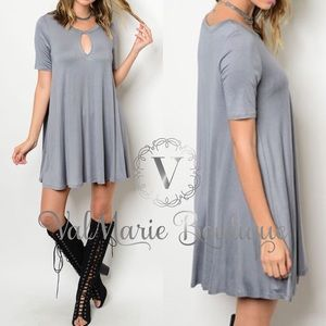 GREY KEYHOLE SOFT SWING DRESS