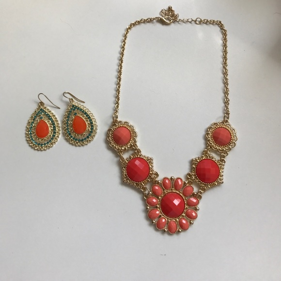 81 off jewelry set of coral and turquoise costume for Turquoise colored fashion jewelry