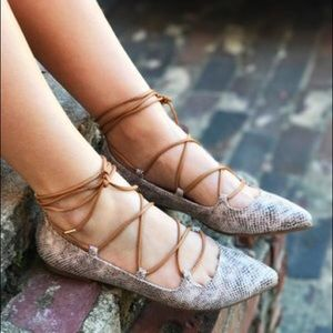 Chinese Laundry Shoes - Pointed Toe Flat Lace Up Ankle Strap