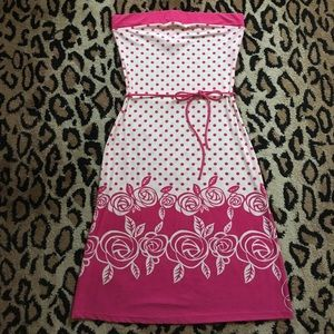 Pink Polkadot and Floral Strapless Dress