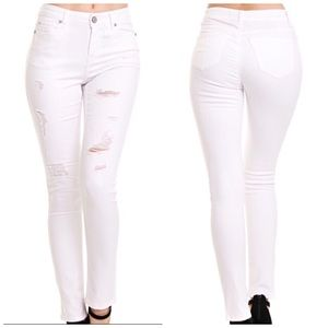 Distressed White Skinny Denim Jean