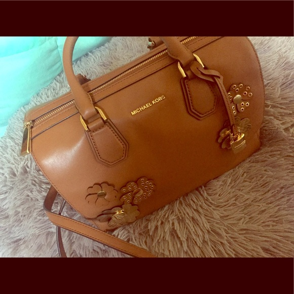 7162f8c58796 ... closeout michael kors mercer floral leather duffle bag cb00c 3fa49