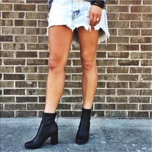 Black Drawstring Ankle Bootie