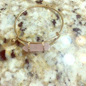 Pink Natural Stone Brass Bracelets Bangle