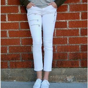 Denim - White Moto Zip Jeans/Jeggings
