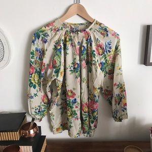 Floral Silk Tucker Blouse