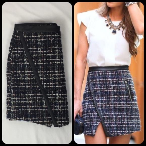 8f7f3a7268 ZARA Asymmetrical Leather Trim Tweed Mini Skirt. M_58ed01127f0a05570400a0af