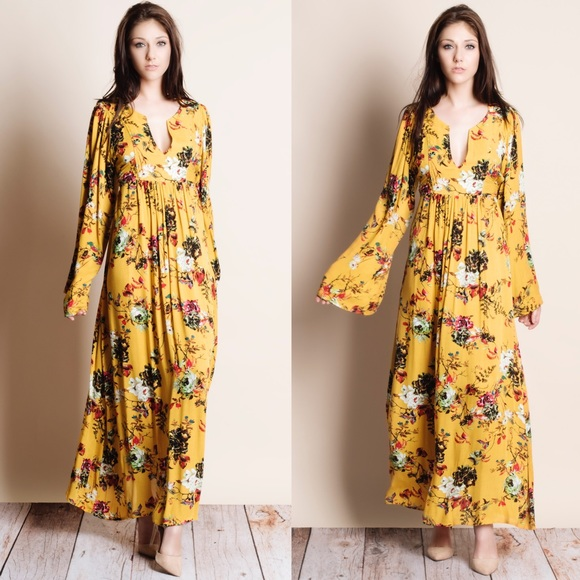 43921ccc0b51 1DAYSALE Mustard Floral Printed Maxi Dress Boutique