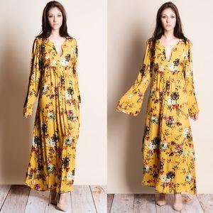 Mustard Floral Printed Maxi Dress