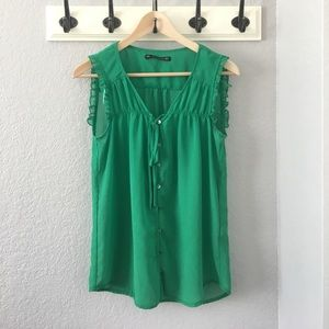Zara green button down top