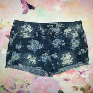 Rewash Pants - Rewash Floral Print Cut off Denim Shorts
