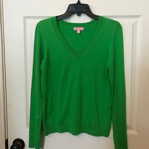 EUC Lilly Pulitzer green V-neck sweater size XS