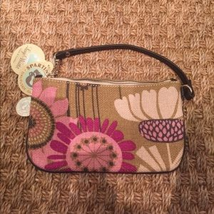 NWT SPARTINA linen leather wristlet