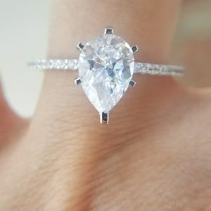 NEW 2ct pear14k Solid White Gold Engagement Ring
