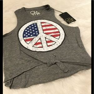 Chaser Tops - NWT Chaser Triblend Tie Front Muscle Tank