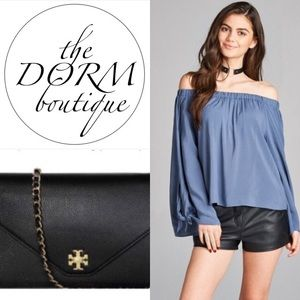 THE DORM BOUTIQUE Tops - BEAUTIFUL BLUE CHAMBRAY SATIN OFF THE SHOULDER TOP