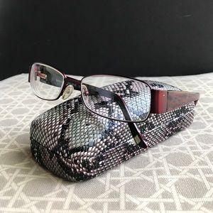 XOXO Accessories - Cafe red glasses frames XOXO snake skin case 🐍