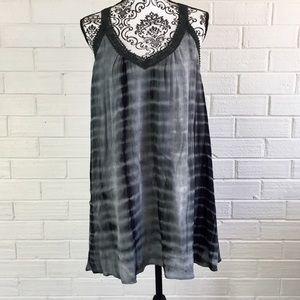 Blossom Tops - BNWT L Black & Gray Tie Dyed Tank Tunic