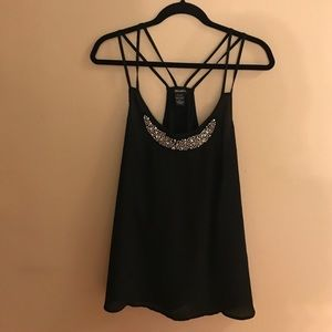 Stoosh Tops - Strappy Racer Back Tank Top with Silver Accents