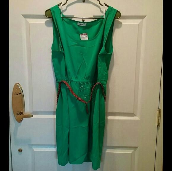 1189d4b71b2  NEW  Calvin Klein PLUS SIZE 16 Green Belt Dress
