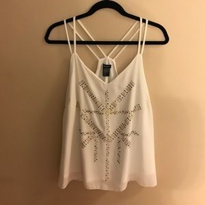 Stoosh Tops - Strappy White Racer Back w/ gold and silver detail