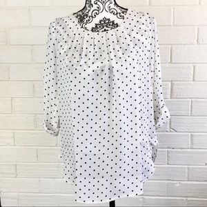 Blossom Tops - BNWT Small White with Navy Polka Dot Blouse