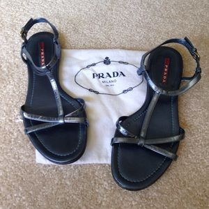 Prada Linea Rossa Shoes - PRADA LINEA ROSSA blue metallic sandals. Near perf