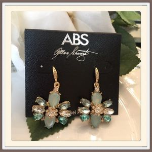 ABS Allen Schwartz Jewelry - Crystal Cluster Mint Drop Earrings