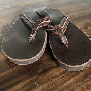 Reef Shoes - Brown leather Reef flip flops