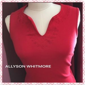 Allyson Whitmore Tops - Size Small by Allyson Whitmore Red Embellished Top