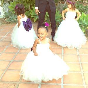 Custom Ivory flowergirl dress w/ removable  bow.