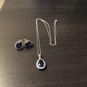 Kay Jewelers Jewelry - Sapphire diamond silver necklace Kays. Genuine.