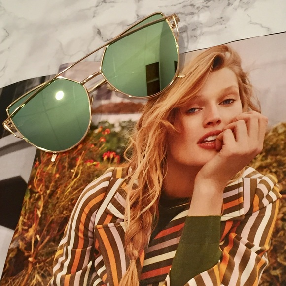 41c2056d9 Urban Outfitters Accessories | Gold And Green Mirror Polarized Cat ...