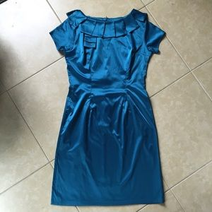 NWOT Shabby Apple turquoise blue satin retro dress