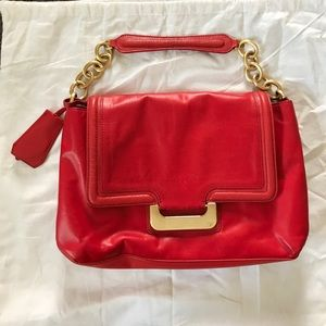 DVF hot red purse with tablet pocket in the back!