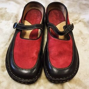 Born Shoes - Born Red and Brown Mary Jane Slip On Clogs Shoes