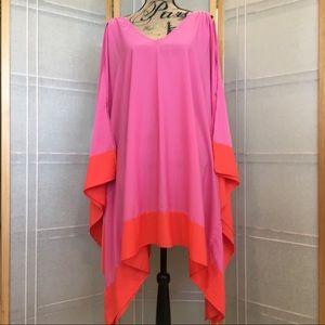 Mudd Tops - Oversize Kimono Style PINK/ORANGE Blouse/CoverUp L