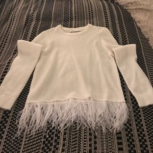 Sweaters - White Sweater with Feathers