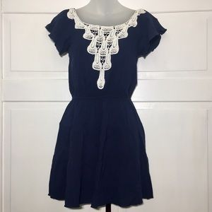 Sequin Hearts Dresses & Skirts - Navy and white Lace Dress