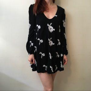 FREE PEOPLE Black Embroidered Gypsy Mini Dress