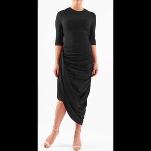 eshakti Dresses & Skirts - New Eshakti Black Asymmetrical Draped Dress L 12