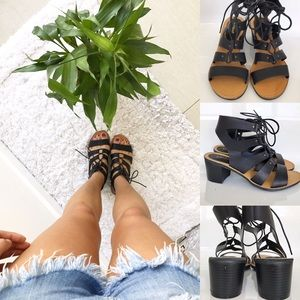 Bamboo Shoes - Black Lace Up Sandals