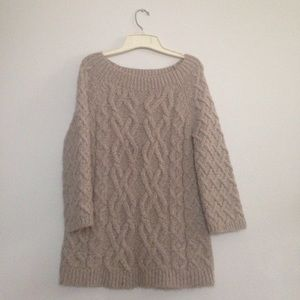 LOFT Taupe stone sweater tunic cable knit xs