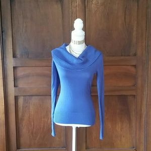 PattyBoutik Sweaters - Pattyboutik Blue cowl neck sweater, S, NWT!